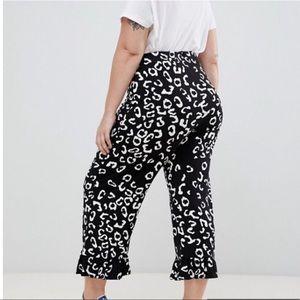 ASOS curvy mono animal print pants with ruffle hem